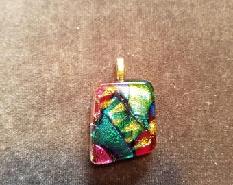 Fused glass necklace pendant. Made of multicolor glass. High quality. One of a kind.