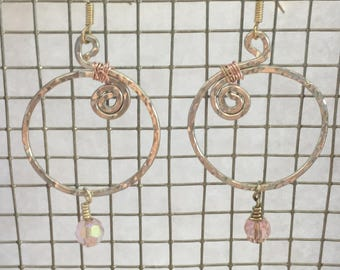Silver plated hand made hoop earrings with  hanging pink crystals