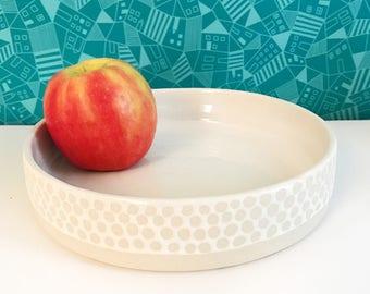 White Dotted Glazed Platter