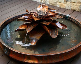 Copper Lotus flower water fountain