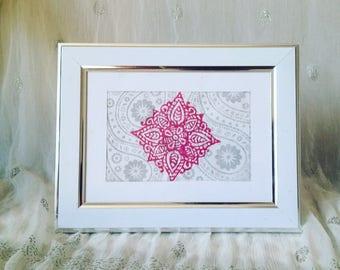 henna square print