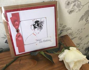 Handmade 21st birthday card