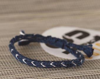 Dark blue white woven friendship bracelet