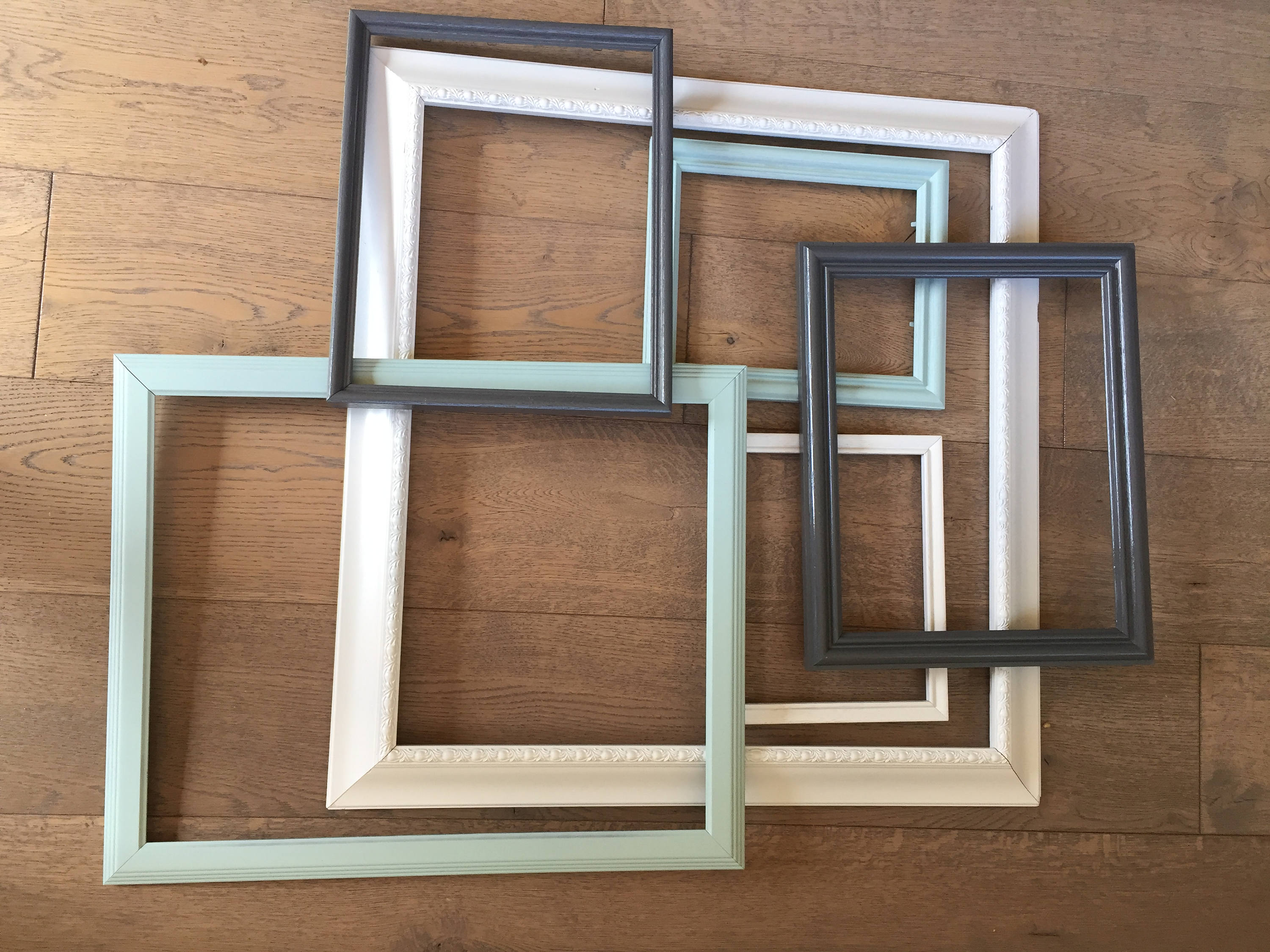 Six empty frame collage. Largest measures 28.25x27.25 ...