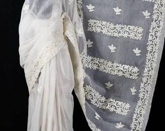 Moslin Saree With Applique Work
