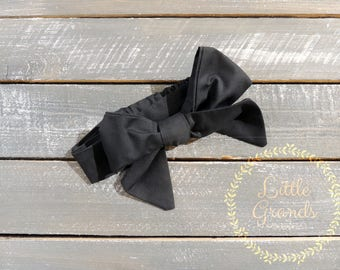 Black Bow Tied Headband (Multiple Sizes)
