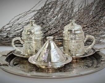 Handmade Turkish Ottoman Syle Copper & Pocelain Espresso Coffee Set