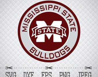 Mississippi State Bulldogs Logo SVG DXF EPS Png Digital Cut Vector Files for Silhouette Studio Cricut Design Space Cameo & Cricut