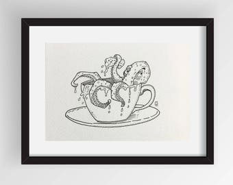Original art - Ink wildlife cartoon - Cute Octopus