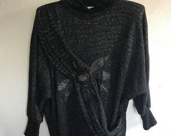 Vintage 80's Jumper with Leather Motif Size Small