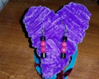 Pink Jade and Hematite Earrings and Fuzzy Heart