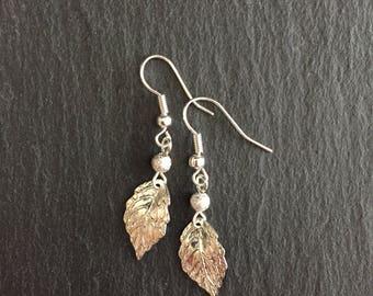 Silver Leaf Earrings, Simple Leaf Earrings, Boho Leaf Earrings, Earrings