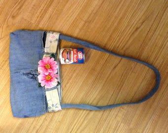 Recycled upscaled denim purse bag
