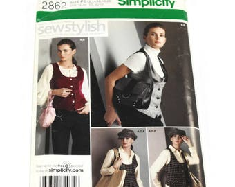 Simplicity Pattern #2862 - Misses' lined vest, hat, wristlet, purse and tote