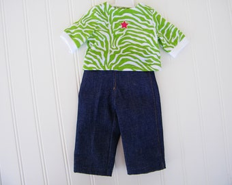 "18"" Doll Clothes, Green Zebra top and fashion jeans, Fits American Girl Dolls, Fits Our Generation dolls"
