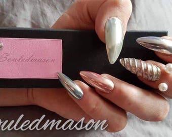 Chrome Unicorn False Nails - DIY Nails - Fake Nails - Press on Nails - Glue on Nails - Stick on Nails - Stiletto Nails - Chrome Nails - Gel