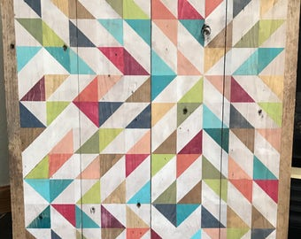 Geometric painting on reclaimed wood