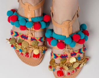 "30% OFF Greek sandals ""Sunrise"" \Pom pom shoes\Gladiator sandals\Colourful\Friendship shoes\Custom slides\Ethnic-Boho outfit\Free shipping!"