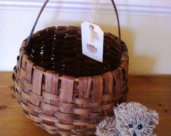 Unusual large round traditional chestnut strip shopping basket