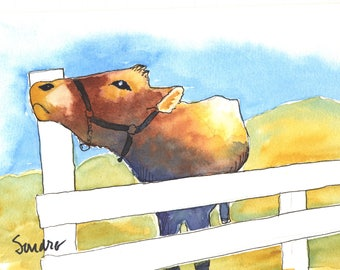 "Cow on Sunny Day, Watercolor, 8"" x 10"", with Mat"