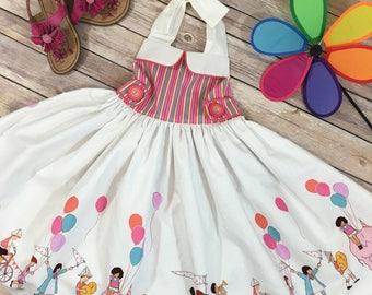 Girls party dress, Little girls dresses, Girls dresses, Girls summer dress, Girls Sundress, Little girls clothes, Girls halter dress