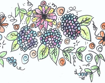 Original artwork - floral, multi-colored, border