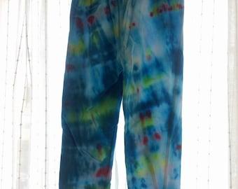 Kid's Rainbowy Blue Yoga Tie-Dye Leggings