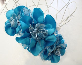 Blue tiara with 3 flowers