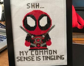 Deadpool Common Sense Quote Cross Stitch