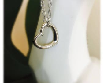Silver Heart Hoop Necklace