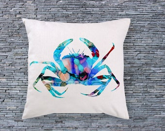 Blue Crab Art Pillow - Art Pillow Cover - Art Throw Pillow - Fashion Pillow