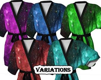 Infrared Nebula, Kimono Robe, Weddings, Dressing Gown, Bridesmaid Robe, Coverup, Spa Robe, Swimsuit Coverup, Robe, Knit, Chiffon Kimono,