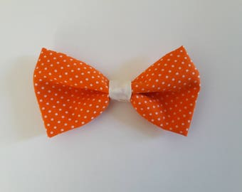 Orange and White Dots Hair Bow Tie Collar
