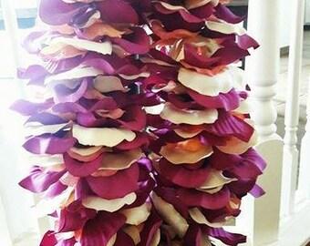 Cream and Fuschia Silk Flower Lei