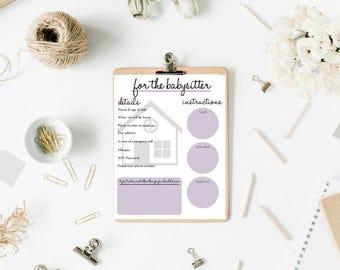 Babysitter Information Printable, Babysitter Worksheet, Emergency Contact Sheet