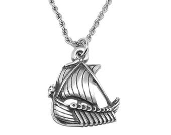Pewter Dragon Viking Boat / Longship Pendant with Chain