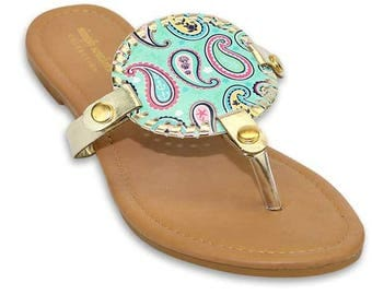 Simply Southern Nautical Paisley and Mint Green Reversible Sandal