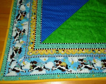 Handmade Baby Quilt in Cow Jumped Over the Moon Border with Colors of Blue, Green, and Yellow
