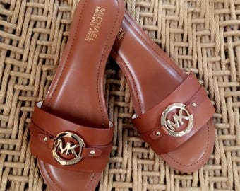 Michael Kors Leather Sandals Size 8.5 Tan/Brown