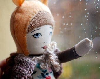 Hanolky handmade doll ooak clothdoll ragdoll emroidery