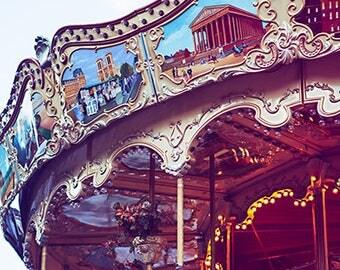 French Fairground Photography, Paris Carousel Photo, Pictures Of Paris, French Lifestyle Photo Print, Paris Street Photography