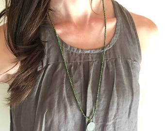 Turquoise Seed Beaded Necklace with Pendant