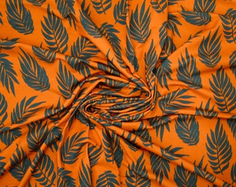 Tropical Leaf Jersey (260gsm, 94/6 Cotton/Elastane) *UK*