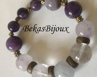 Gemstone Stretch Bracelet, Beaded Jewelry, Aquamarine, Amethyst Bracelet,