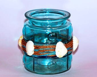 Blue Glass Candle Holder,Shels Home Decor,Beach Candle Holder,Garden Outdor,Wedding Decor,Glass Vintage Provence Candle,Home Accent Decor