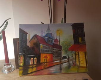 Father day Night City on the rain Original oil painting building night sunset