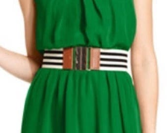 BCX Green Dress with Striped Belt