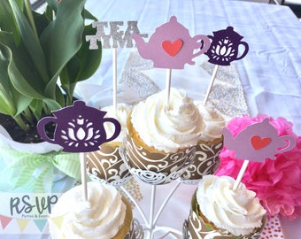 12 Tea Party Cupcake Toppers, Mad Tea Party Cupcake Toppers, Alice in Wonderland Cupcake Toppers, Purple Tea Party Decor, Tea Time Cupcakes