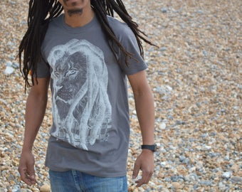 Rasta Lion with Dreads Grey T-shirt