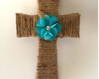 Twine wrapped wooden cross, wooden cross, cross, twine cross, cross wall hanging, cross decor, crosses, crosses for the wall